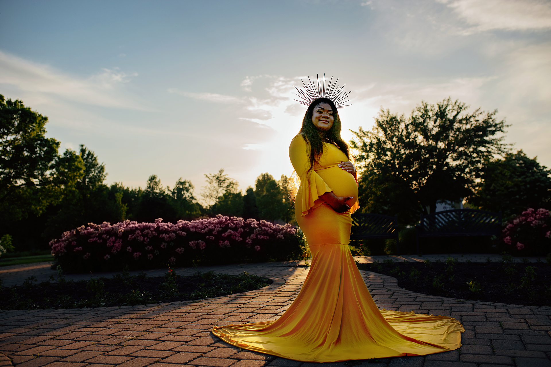 sunflower gold chicaboo athena gown with sunburst crown at Longfellow Gardens in Minneapolis MN