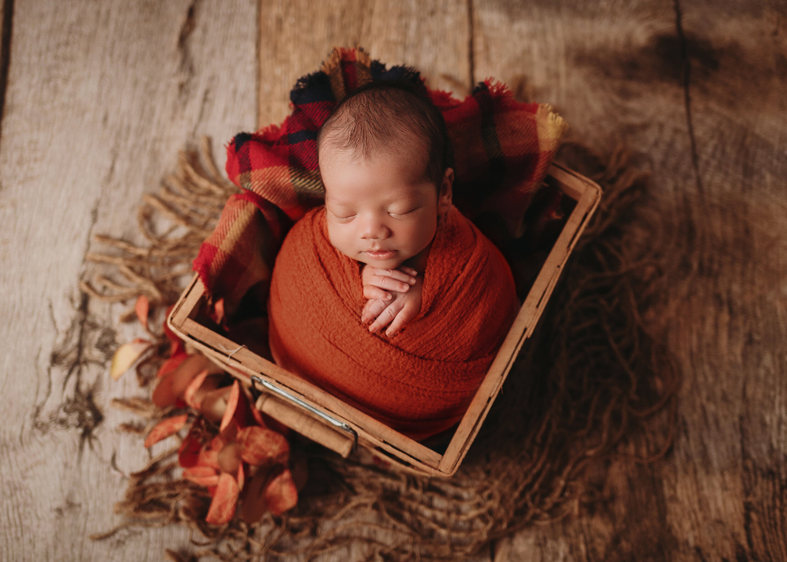 baby boy in orange wrap and plaid layer in basket for minneapolis newborn photographer session