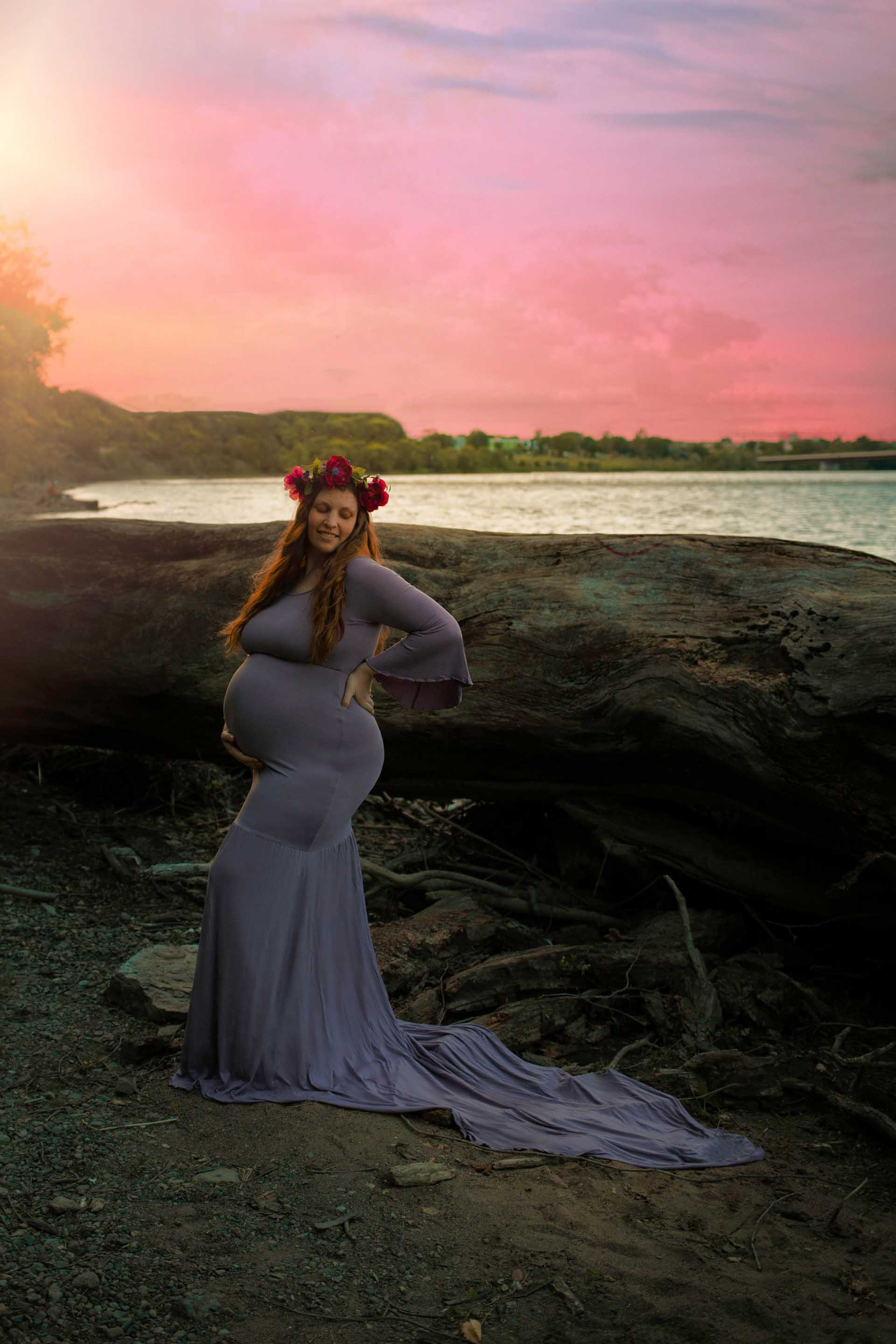 maternity session on beach with sunset and chicaboo lavender juliet dress minneapolis maternity photographer